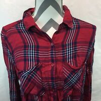 Bp Nordstrom Red Plaid Button Front Flannel Long Sleeve Soft Shirt Small II9