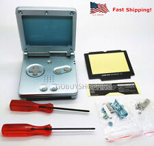 GBA SP Game Boy Advance SP Replacement Housing Shell Screen Lens Pearl Blue USA