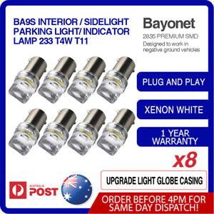 8x BA9S BAYONET LED LIGHT BULB CAR GLOBE INTERIOR 12V 5SMD 2835 WHITE PARKER