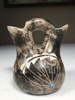 """Navajo Horse Hair Pottery Connie Edsitty Vase 5.5"""" Tall 2 Opening Clay Vase"""