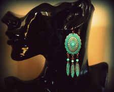 Boho Metal Rustic Turquoise Concho Triple Leaf Dangle Earrings  - Copper Patina