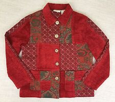 Appleseed's Womens Sz M Red Green Patchwork Tapestry Button Down Jacket