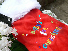 Baby's First Christmas Stocking, luxury rainbow embroidered
