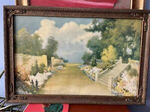 "Antique R Atkinson Fox Framed Lithograph ""Garden Promenade"" Framed Signed 1920's"