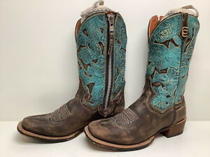 #V2 VTG WOMENS DAN POST SQUARE TOE COWBOY DISTRESSED BROWN BOOTS SIZE 10 M