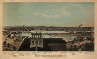 Painting Aerial Illustration Minneapolis Minnesota 1874 Canvas Art Print