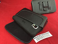BLACK LEATHER CASE HOLSTER BELT CLIP POUCH FOR LG STYLUS LS770 HYBRID ARMOR CASE