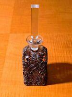 ANTIQUE LIQUOR BOTTLE WITH BEAUTIFUL ART NOUVEAU DESIGN CASING & GLASS STOPPER