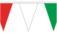 Red White & Green 5M Triangle Flag Bunting - 12 Flags - Triangular