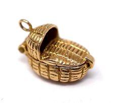 9ct Hallmarked Gold Baby Basket Charm Vintage Charm Bracelet pendant Gift