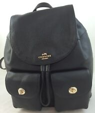 New Coach F37410 F29008 Billie Pebble Leather Backpack Double Shoulder Bag Black