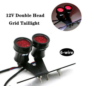 6-wire Double Head Black Motorcycle Cafe Racer Tail Brake Light Lamp Universal