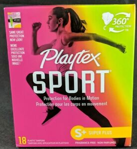 Playtex Sport 360 Protection Unscented S+ Super Plus 18 Plastic Tampons New
