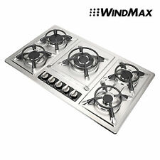 Windmax Silver Stainless Steel Hot Plate Gas Stove Cooktop 5 Burners for Gas LPG