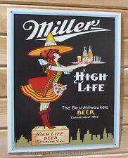 Miller High Life Retro Server Girl TIN SIGN beer metal poster vtg bar decor 856