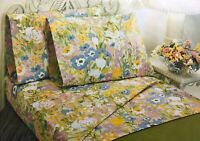 VTG 1960's Sears MEADOWSONG Floral Percale Set of 2 TWIN Fitted Sheets (RF1073)