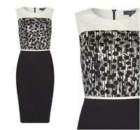ex Pied a Terre Monochrome Polka Dot Panel Sheat Office Occasion Dress