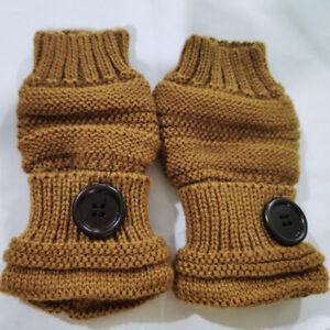 Women Button Knitted Fingerless Half Finger Gloves Winter Touch Screen Mittens B