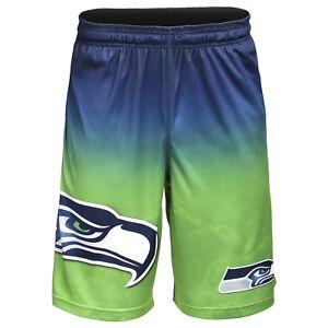 Seattle Seahawks NFL Gradient Blue/Green Big Logo Training Shorts FREE