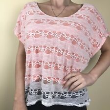 Paper Crane Womens High Low Crop Top Shirt Lace Short Sleeve White Coral L Large