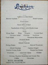 Atlantic City, NJ 1888 Menu: Hotel Brighton - Oysters, Oolong Tea - New Jersey