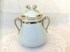 Elegant H&C Limoges White & Gold Gilt Porcelain Sugar Bowl/Canister