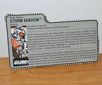 "VINTAGE GI JOE STORM SHADOW V2 FILE CARD ACCESSORY 3.75"" ARAH ACTION FIGURES"