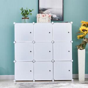 9 Cubes DIY Modular Closet Cabinet Bookcase Storage Display Unit Organizer Doors