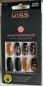 Kiss Nails MASTERPIECE Glue on Manicure Medium Gold Black Matte Glitter Jewels