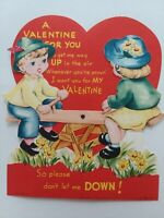 1940-50s Vtg MECHANICAL GIRL & Boy on SEE SAW Up & Down VALENTINE GREETING CARD