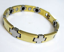Yellow gold & Silver Tungsten Carbide MEN/Lady Energy Magnetic bracelet TS162