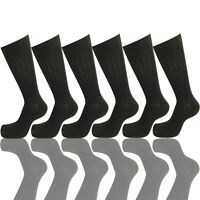 6 PAIRS NEW COTTON MENS LORDS RIB STYLE DRESS SOCKS SIZE 10-13 BLACK COLOR