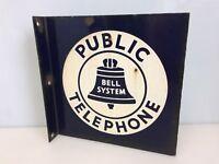 """Vintage BELL SYSTEM PUBLIC TELEPHONE Porcelain 2 Sided Sign Flange Side 11"""""""