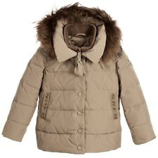 MONNALISA BIMBA GIRLS TAUPE PADDED JACKET WITH FUR 4 YEARS