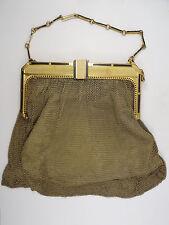 Antique Art Deco Whiting And Davis Gold & Enamel Mesh Bag Purse