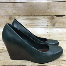 GIANNI BINI Women's Size 6.5 Green Leather Square Toe Wedge Heel Pumps Shoes