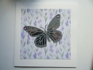 """Grey/Silver Butterfly/Floral 6""""x6"""" - Blank, For Any Occasion, Handmade Card"""
