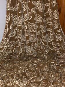"1 Meter Beige Gold Embossed Rose Velvet Dress Upholstery Fabric 58"" Wide Stretch"