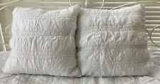 Lot of 2 Pottery Barn Teen White Ruched Euro Shams