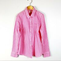 J CREW Women's Size Small Button Down Top The Perfect Shirt Fit Plaid Pink White