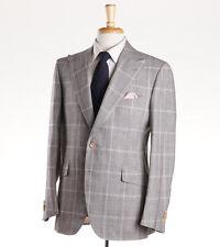 NWT $6300 CESARE ATTOLINI Glen Check Peak Lapel Wool-Silk-Linen Suit 40 R (Eu50)