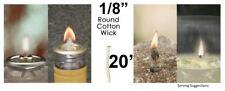 1/8 Round Cotton Wick 20' Kerosene Lantern Lamp Tiki Rock Candle Wick USA Seller