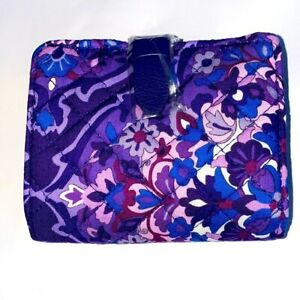 Vera Bradley Iconic RFID Quilted Cotton Small wallet Regal Rosette Purple Floral