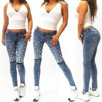 Exclusive limmited Edition Perlen Stretch Jeans blue Jeans Hose Röhre denim