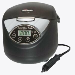 Max Burton 12 Volt Lunch Box Stove To Go Digital Oven Rice Cooker Slow Cooker
