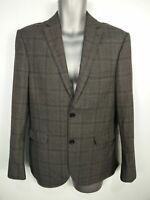 MENS NEXT TAILORING SIZE 38S SHORT GREY MARL CHECK FITTED SMART BLAZER JACKET