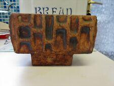 More details for vintage studio pottery brick slab vase / planter brutalist