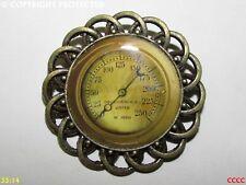steampunk brooch badge pin bronze mechanical gauge dial face pressure valve