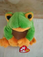 "TY Beanie Babies ""SMOOCHY"" Plush Green & Yellow Frog. 1997. 8.5"" PE Pellets. New"