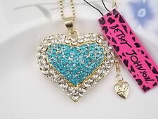 Betsey Johnson Fashion Jewelry inlay blue Crystal Heart Pendant Necklace #T